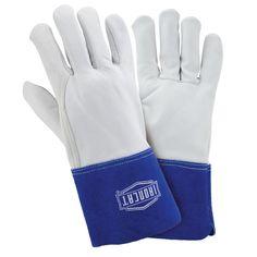 Premium Grain Goatskin TIG Welding Gloves, White And Blue