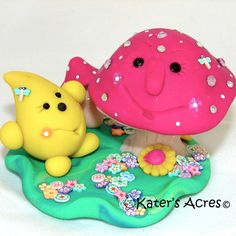 PARKER & FUNGI - Polymer Clay Sculpted Character & Mushroom, Limited Edition Collectible Figurine by @KatersAcres