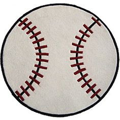 This baseball-shaped rug is hand-tufted of easy-to-clean acrylic fiber. This soft and thick white rug features red and black accents to create a fun baseball look. Blue Carpet, Diy Carpet, Rugs On Carpet, Carpets, Floors And More, White Rug, Online Home Decor Stores, Carpet Runner, Boy Room