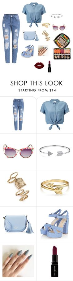 """""""Bez naslova #27"""" by elmat ❤ liked on Polyvore featuring Miss Selfridge, Betsey Johnson, Bling Jewelry, Topshop, Kate Spade, Smashbox and Lime Crime"""