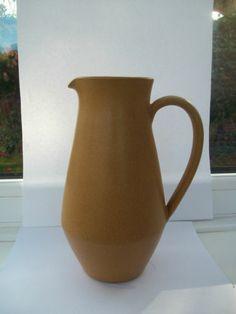 "Denby Ode Jug Pitcher 1 1/2 Pt 20cm 8"" high 1960's 70's Sand Beige Mustard White £10"
