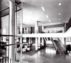 Vista interior, Centro Deportivo Israelita, Av. Ávila Camacho, Lomas de Sotelo, México DF 1955-1958 Arq. Vladimir Kaspé - Interior view, Jewish Sports Center, Lomas de Sotelo, Mexico City 1955-1958