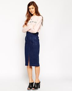 Image 1 ofASOS Denim Belted Midi Skirt With Patch Pockets