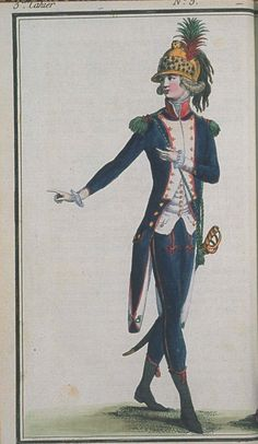 Journal de la Mode et du Gout, March 1790. Unfortunately I don't have the description for this plate, but I know from his helmet that he's a dragoon! Any military historians know more?