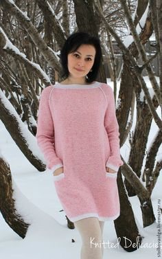 """Купить Платье - туника """" Strawberry Ice Сream """" - розовый, пряжа Италия, твид"""