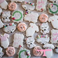 Cute woodland cookies for a baby shower