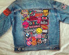 Vintage Patched Oversized Jean Jacket / Patched Denim Jacket