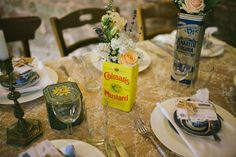 so many uses for a Colmans Mustard tin! Photography by @edgodden #wedding #vintage #flowers #tin #metal #table #styling #decoration