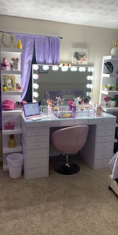 SlayStation® Pro Tabletop + Glow Pro Vanity Mirror + Drawer Units Bundle - All About MakeUp Bedroom Decor For Teen Girls, Girl Bedroom Designs, Teen Room Decor, Room Ideas Bedroom, Girl Bedrooms, Design Bedroom, Teenage Room Designs, Beauty Room Decor, Makeup Room Decor