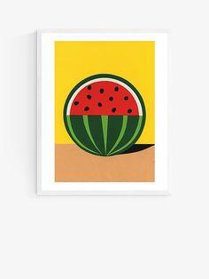 Rosi Feist - Quarter Watermelon Wood Framed Print, 52 x 42cm, Yellow/Multi