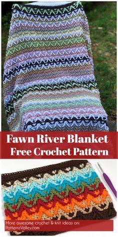 Fawn River Blanket - Free Crochet Pattern #crochet #blanketpattern #freecrochetpatterns #babyblanket