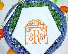 Chinoiserie Embroidered Napkins | Pagoda Napkins | luncheon napkins | Fabric Napkins | Hostess Gift Bridal Shower Gift