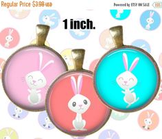 SALE 60% Digital Collage Sheet Pastel rabbits 1inch 25mm Printable Circles Download for pendants magnets bottle cups Cabochons (1.59 USD) by DigitalBrook