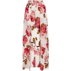 Parisian White Floral Print Maxi Skort (€30) ❤ liked on Polyvore featuring skirts, bottoms, white floral maxi skirt, flower print maxi skirt, floral printed skirt, long floral skirts and white skirt