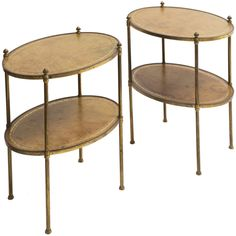 1stdibs - Pair English Oval Brass and Tooled Leather Two Tier Side Tables c.1950 explore items from 1,700  global dealers at 1stdibs.com