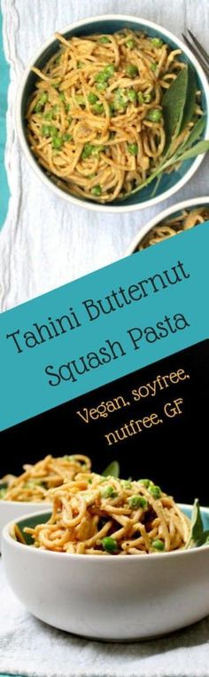 A creamy, delicious Tahini Butternut Squash Pasta for a quick weeknight dinner. A vegan, soy-free and nut-free recipe. Sauce is gluten-free. Easy Pasta Recipes, Easy Meals, Pasta Ideas, Noodle Recipes, Delicious Vegan Recipes, Vegetarian Recipes, Healthy Recipes, Pasta Sauce Dairy Free, Roasted Butternut Squash Cubes
