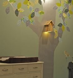 I love this tree mural! It has a birdhouse nightlight and fabric leaves! Woodland Nursery, Bird Nursery, Woodland Baby, Nursery Decor, Nursery Inspiration, Baby Shower Themes, Bird Houses, Kids Room, Wall Lights