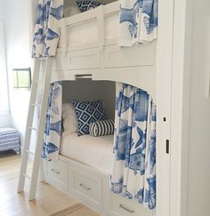 Custom Built-In Bunksets with Privacy Curtains l Coastal Bedrooms & Baths l www.DreamBuildersOBX.com