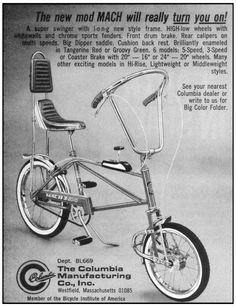 """thegikitiki: 1969 """"Columbia Manufacturing Company"""" Bicycle Advertisement. Comes in Tangerine Red or Groovy Green!"""