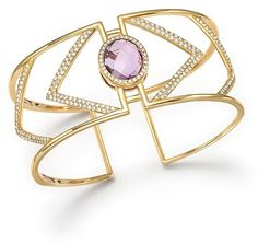 Amethyst and Diamond Geometric Bangle in 14K Yellow Gold