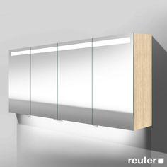 Burg Crono LED Spiegelschrank mit Waschtischbeleuchtung mit 4 Türen Front verspiegelt/Korpus eiche fineline oregon