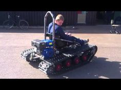 Home made tracked vehicle, First test Drive - YouTube