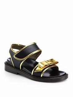 Marni Double Strap Bow Metallic Sandal