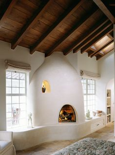 Love the wood and the walls and the hearth