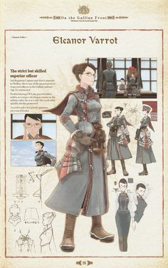 Valkyria Chronicles: Eleanor Varrot Captain the 3rd regiment. Artwork.