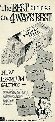 Nabisco Premium Saltines ad, 1953. #vintage #1950s #food #crackers #ads