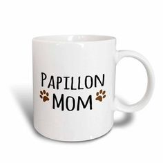 3dRose Papillon Dog Mom - Doggie by breed - muddy brown paw prints - doggy lover proud pet owner mama love, Ceramic Mug, 15-ounce