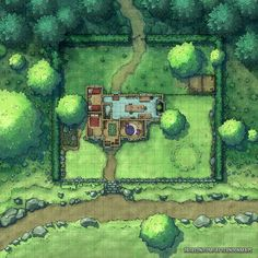 Minor Manor House walled Mixed Forest Farmland Road e-sw trail n Afternoon Maps RPG & DnD battle map Patreon med Fantasy City, Fantasy Map, Fantasy Places, Fantasy World, Witch Cottage, Witch House, Forest Cottage, Forest Road, Dark Forest