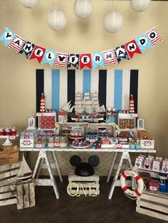 Red and blue Mickey Mouse nautical birthday party! See more party ideas at… Mickey Mouse Photos, Mickey Mouse Parties, Mickey Party, Nautical Mickey, Nautical Party, Monkey First Birthday, Mickey Mouse Birthday, Boy Birthday Parties, First Birthdays