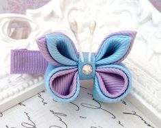 Butterfly Hair Clip Lavender and Blue by PoshPetalsbySteph