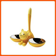 A di Alessi Tigrito Cat Bowl, Yellow - For our pretty pets (*Amazon Partner-Link)
