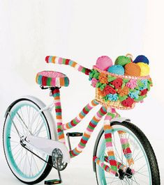 crochet flower basket for a bike