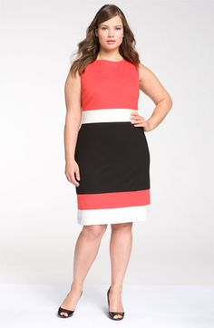 Just in time for the Holidays.   Vince Camuto Sleeveless Colorblock Dress (Plus size) available at #Nordstrom