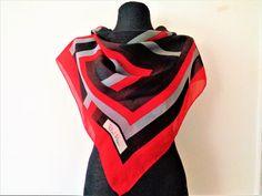 Vintage Richard Allan Silk Scarf Black Red  Gray Silk Scarf