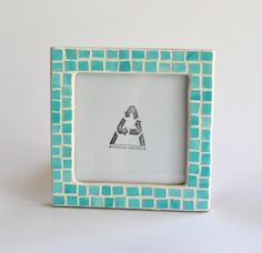 Beach Decor Stained Glass Mosaic Picture Frame 4x4 Photo by ekra, $36.00