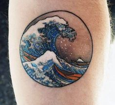 Cool Circle Ocean Wave Tattoos For Men On Arm