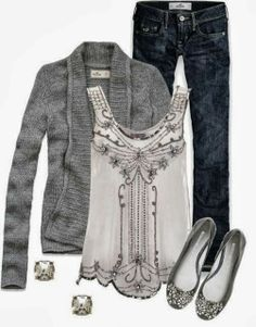 Stunning white sequin top with grey cardigan, earrings and flat pumps