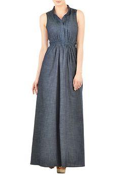 I <3 this Pleat front chambray denim maxi dress from eShakti