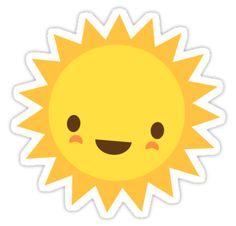 """Cute kawaii sun cartoon character"""" Stickers by Mhea Mobile Stickers, Cute Stickers, Reward Stickers, Cartoon Drawings, Cute Drawings, Rock Crafts, Diy And Crafts, Sun Drawing, Cartoon Sun"""