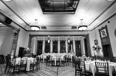 Pabst Best Place Milwaukee Wedding Reception Blue Ribbon Hall Decor Tables
