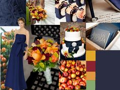 Navy Blue with fall palette : PANTONE WEDDING Styleboard : The Dessy Group
