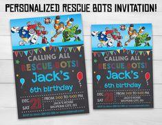 Rescue Bots invitation Rescue Bots birthday by SuperInstantParty