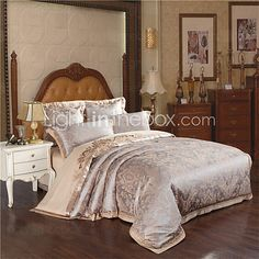 Luxury Tribute Silk Satin Jacquard Bedclothes Jade Green Color