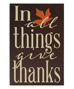 Brown 'In All Things Give Thanks' Wall Sign