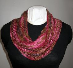 Silk and Wool Blend Hand Knit Mobius Cowl