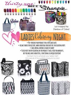 Show your creativity by coloring your own Thirty-One product. #color #coloring…
